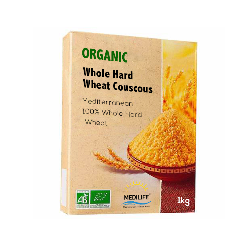 Organic Couscous Whole Hard Wheat 1 kg Carton packing